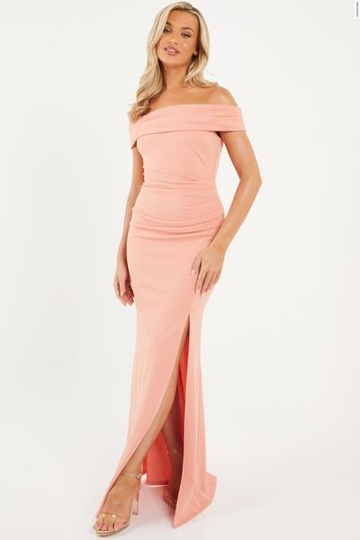 Coral Bardot Split Maxi Dress